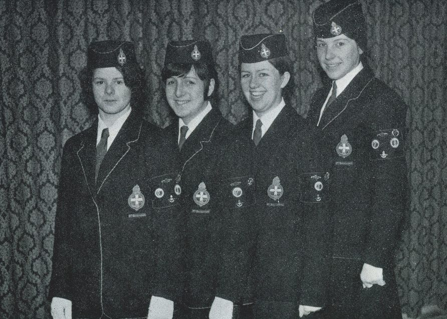 Girls' Brigade young women in full uniform - black and white photo