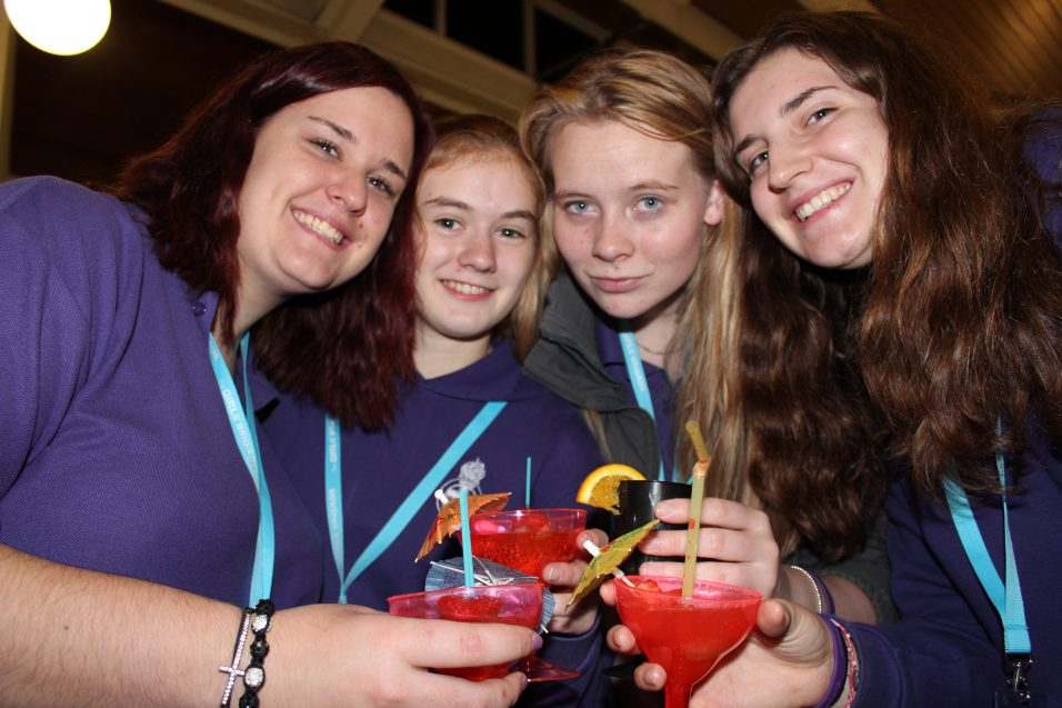four n:spire girls toasting with mocktails
