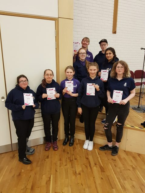 n:fluence 14-18s group of teenagers with certificates