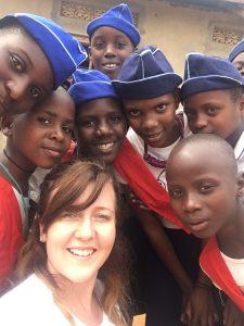 Young women with Ugandan Girls' Brigade children