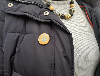 woman wearing bamboo GB badge