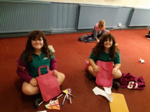 Two girls with goodie bags