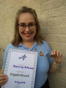 Patsy Attwood with Brigader Brooch